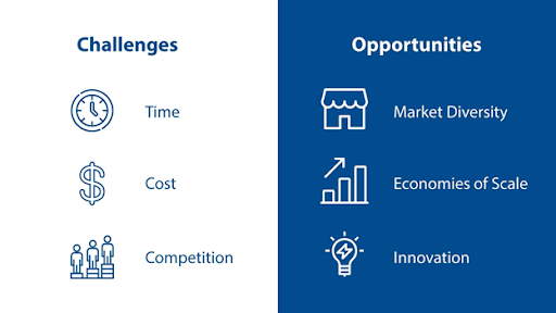 Graphic of challenges and opportunities of exporting